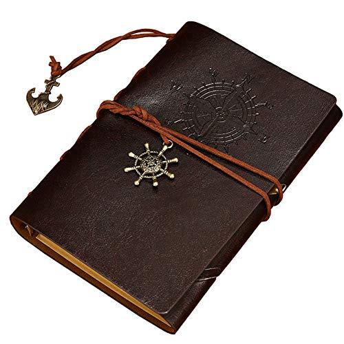Cuaderno de Piel CHEPL Cuaderno de Viaje Vintage Cuaderno Diario Pirata del Vintage Anillo de Anclaje Insertos Cuerda Atada Rellenable Bloc Notas (Café)