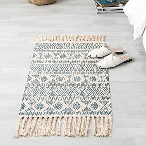 Estera de Lino de algodón de Estilo Popular ins Tapiz Liso Retro Alfombra Hecha a Mano Dormitorio Alfombra Custompattern Morocco