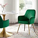 Altrobene Modern Accent Dinging Chair, Velvet Home Office Desk Chair, Living Room Bedroom Arm Chair with Golden Finished Metal Legs, Green