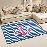 SunsetTrip - Alfombras náuticas con ancla de mar en zigzag para sala de estar, dormitorio, antideslizante, moderna, alfombra suave al tacto, extra grande, lavables, 78,7 x 50,8 cm
