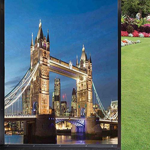 London - Lámina adhesiva para ventana (60 x 90 cm), color azul y marfil