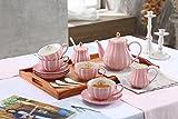 Lieras - Servizio da tè in porcellana, serie British Royal, per 6 persone, tazze da 236,5...
