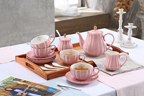 Lieras - Servizio da tè in porcellana, serie British Royal, per 6 persone, tazze da 236,5 ml con piattini, include zuccheriera, teiera, lattiera, cucchiaini e colino da tè, per tè/caffè Young Pink