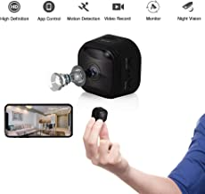WiFi Mini Hidden Camera Spy Camera with App, HD, Wide-Angle Lens, Video Camera, Square Round, Covert Nanny Cam, Motion Detection, Night Vision, Security Surveillance Cameras (Black,2019)