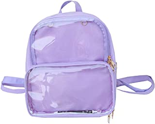 Fashion Backpack Transparent Ita Daypack Middle School Bag for Pins Toys Display Bag Purple