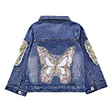 3-8T Spring and Autumn Girls Denim Paillette Butterfly Jacket Kid's Jacket Top(6-7Y)