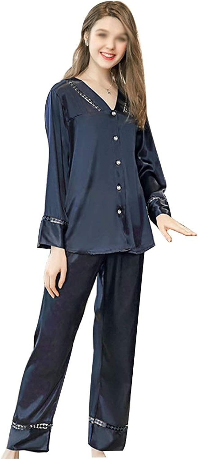 Spring and Summer LongSleeved Trousers Pajamas Ladies Solid color Thin Satin Home Service Suit (color   bluee, Size   XL)