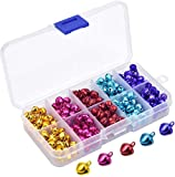 HQDeal 300PCS Colorful Jingle Bells with Storage Box, Small Bells Mini Bells, Craft Bells, Metal Bells, DIY Bells for Christmas, Festival Decorations, Cat Collars, Jewelry Making, 10mm, 5 Colors
