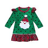 K-youth Vestidos para Niñas De Navidad Ropa para Bebe Niña Navidad Recién Nacido Vestido de Princesa Infantil Vestido de Niña para Fiestas Papá Noel Invierno Disfraz en Liquidacion(Verde, 2-3 años)