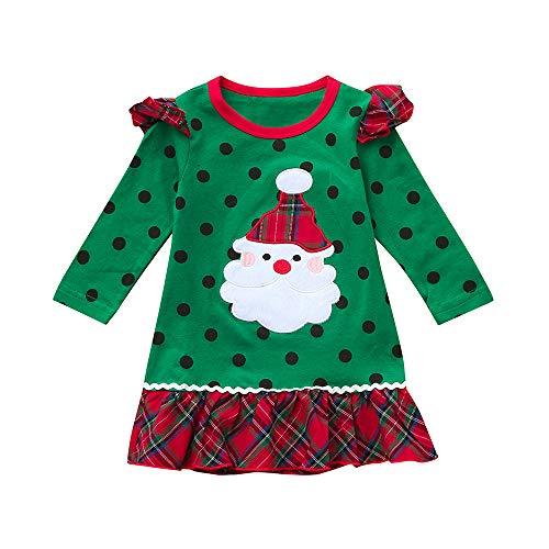 Fossen 1-5 años Niña Disfraz Navidad Ropa Santa Claus Lunar Vestido con Volantes Manga Larga