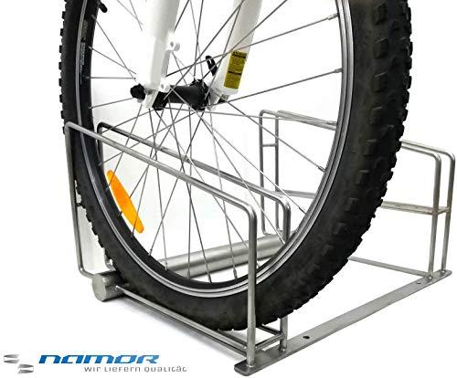NAMOR© Bügelparker | Fahrradständer für 2 Fahrräder | Made in Germany | Edelstahl Rostfrei | Fahrradhalter | Fahrradparker