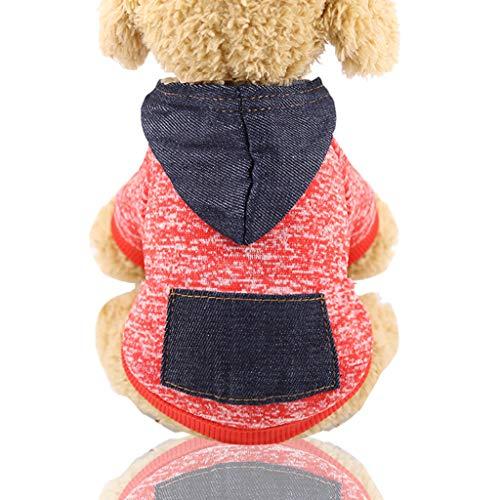 Yowablo Hunde-Kapuzenpullover, für Herbst und Winter, einfarbig, Baumwolle, mit Tasche, Outdoor Schneeflockenhaube für Kleine Hunde (XXL,2- rot)
