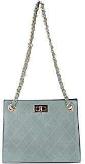 Fashion New Exquisite Trend Casual Fashion Durable Portable Slung Diamond Chain Shoulder Small PU Handbag (Color : Green)
