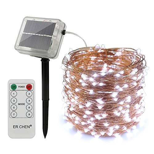 ErChen Solar Powered LED String Lights, 100 FT 300 Leds Copper Wire Waterproof with Remote Control 8 modes Decorative Fairy Lights for Outdoor Christmas Garden Patio yard (White)