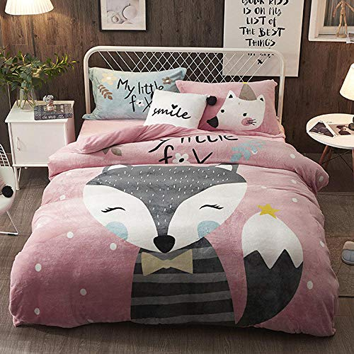 Bxnthd Kids Duvet Cover Present ( Single size 135 x 200 cm ) Cartoon animal fox Bedclothes 3d Bedding Sets for 3pcs Bed Quilt cover pillowcase + Soft Easy Care Anti-Allergic Bedding Set Gift for Teen