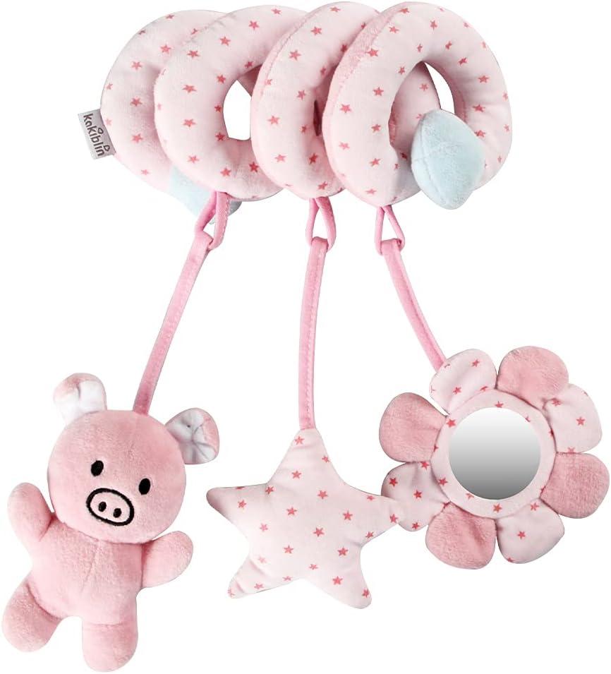 vocheer Hanging Toys for Car Seat Crib Mobile, Infant Baby Spiral Plush Toys for Crib Bed Stroller Car Seat Bar, Pink Pig