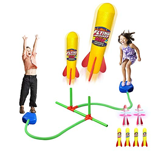 Mochoog Dueling Rocket Launcher for Kids with 2 LED & 4 Foam Rockets - Outdoor Games Activities Rocket Toy Gift for Boys & Girls Ages 3 4 5 6 and Up - Great for Outside Play in The Backyard and Parks