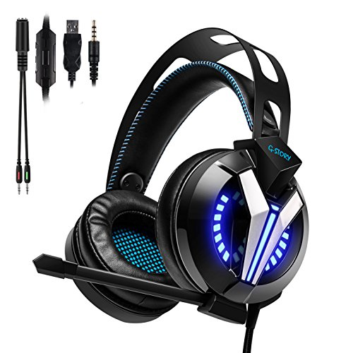 G-STORY Gaming Headset with Noise Cancelling Microphone, Volume Control Functions, LED Light and Bass Surround Stereo for PS4/PC Computer/Laptop/Mac/Mobil/iPhone/iPad