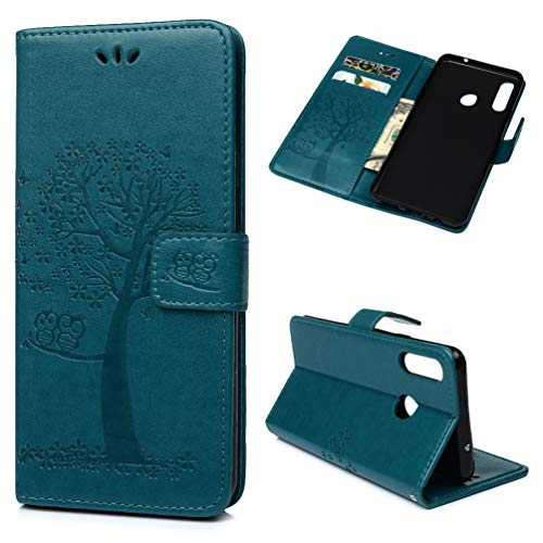 CarittiM mobilväska kompatibel med Samsung Galaxy A20S skal Wallet Case Cover mobilfodral PU läder väska uggla träd mönster skyddsskal skinn stativ vikbar skål Bumper magnet lock turkos