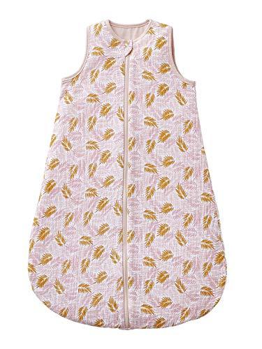 Vertbaudet Saco de dormir para bebé sin mangas, Tropical Rosa/Mostaza Hojas 107 cm