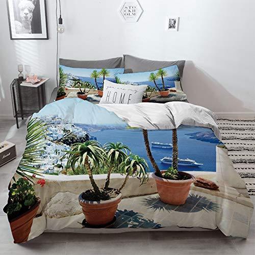 3 Piece Duvet Cover Set No Wrinkle Ultra Soft Bedding Set,Modern,Palm Trees Striped Ombre Backdrop Music Loudspeaker Art Print,Red Tan Hunter Gre,2 pillowcase 50 x 75cm 1 Pc Bed sheet 260 x 220cm