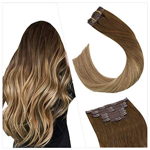 Ugeat 100Gramm Clip in Extensions Tresse Echthaar Hair Clip Extensions Balayage Mittelbraun zu Hellbraun und Dunkelste Blondine #6/8/14 Clip in Human Hair Extensions Haartressen Echthaar 35cm