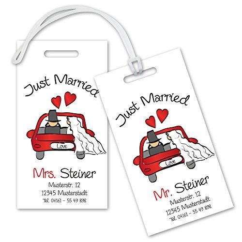 Kofferanhänger Set Just Married mit Adresse zur Hochzeit, Taschenanhänger, Hochzeitsgeschenk, Flitterwochen-Geschenk, Brautpaar im Auto