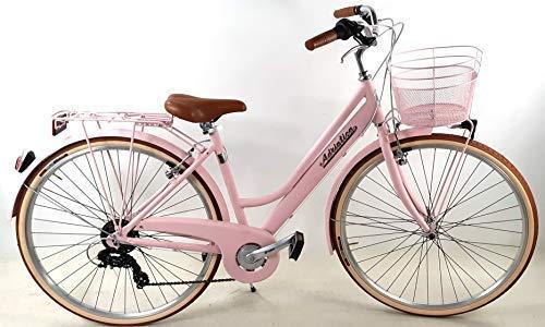 """Adriatica Bicicletta Donna Alluminio """"RETRÓ"""" 28″ con Cambio + Cesto Anteriore RICOPERTO/Colore Rosa"""
