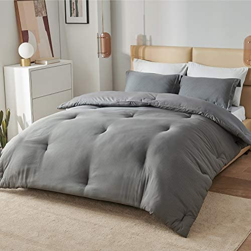 Bedsure Grey Comforter Set Queen Size Bed All Season Bedding Comforter Sets with Luxury Jaquard product image
