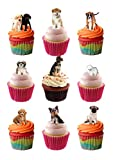 32 Stand Up Puppies Puppy Dog Themed Edible Wafer paper Cake Toppers Decorations