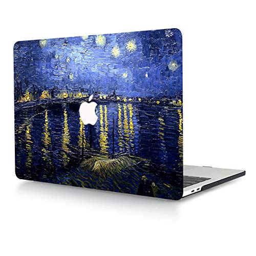 ACJYX Case Only Compatible with MacBook Pro Retina 13 Inch Model A1502 A1425 Older Version Release 2015 2014 2013 end 2012, Print Pattern Plastic Hard Shell Case Snap on Cover, Blue Ink Painting