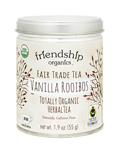 Friendship Organics Vanilla Rooibos, Totally Organic and Fair Trade Herbal Tea in Tagless Tea Bags (22 Count)