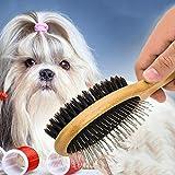 Cepillo y Peine para mascotas de Madera de doble cara Pelo Largo y Corto. Cepillo para quitar pelo muerto de perros y gatos.