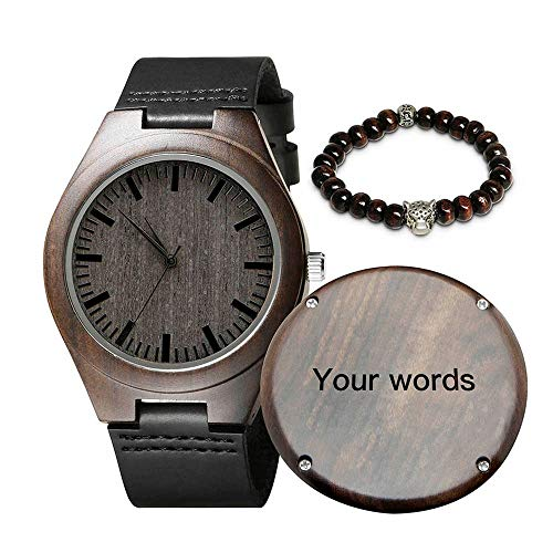 wood watches with dates Customized Engraved Mens Wooden Watches - Stylish Ebony Wood & Stainless Steel Strap Chronograph & Date Dispaly - Personalized Gifts Anniversary Graduation for Dad Son Husband (Customized Now)