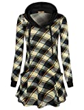 Miusey Boutique Clothing for Women,Feminine V Neck Buffalo Check Splice Top Comfy Sweatshirt Knitted Loose Knitwear with Cute Pockets Drawcord Regular Designer Hoodie Grey XL