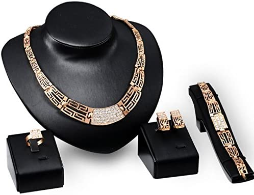 Frybrid 18 K Gold Plated Luxury Statement Bridal Jewelry Set Necklaces Bracelets Earrings Ring Set for Women African Beads Jewelry Sets