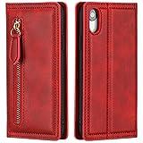 CTIUYA Hülle für iPhone XR, Schutzhülle Handyhülle Tasche Flip Case Klapphülle Leder Hülle Handytasche Bookstyle Ultra Dünn Magnet Kartenfach Ledertasche für iPhone XR,Rot