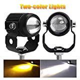 CO LIGHT Pair Motorcycle LED Auxiliary Lights Flood White Yellow LED Fog Lights for Motorbike E-bicycle Night Driving Headlights Fog Lamp
