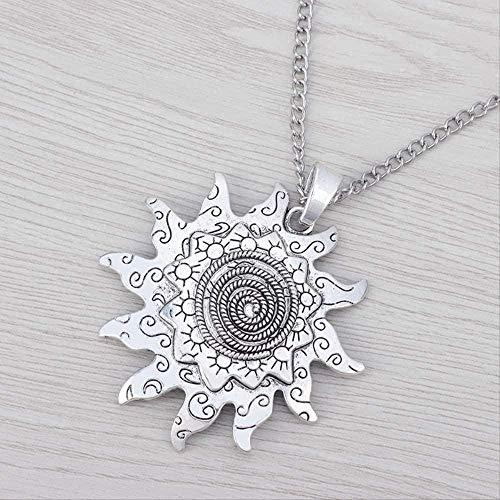 ZGYFJCH Co.,ltd Collar Mujer Collar 1 x Declaración de Boho de Plata Tibetana Gran Espiral Colgante de Flor de Sol en Collar de Cadena Larga Joyería Lagenlook 34