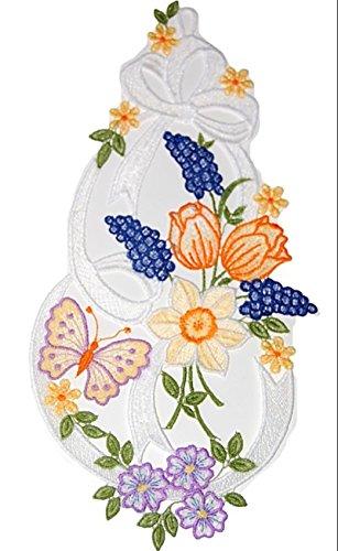 Plauener Spitze Fensterbild Frühlingsgruß Narzisse Tulpe Schmetterling 20x38 cm + Saugnapf