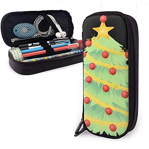 Weihnachtsbaum One PU Ledertasche Aufbewahrungstaschen Tragbare Student Pencil Stationery Bag Multifunktionstasche