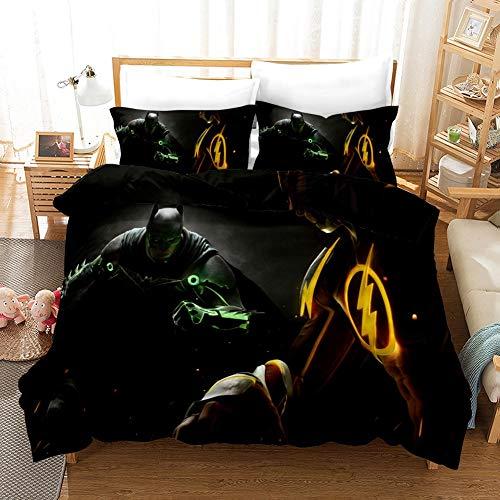 Juego de Sábanas Otaku Ropa de cama; Conjunto de ropa de cama de 3 piezas con cierre de cremallera 100% Microfibra 3D Impresión de impresión Cubierta de edredón de Navidad Ropa de cama Reversible Inic