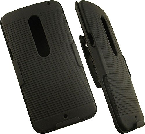 Nakedcelphone Black Ribbed Hard Case Cover + Belt Clip Holster with Stand for Motorola Moto X Pure Edition 2015 and Moto X Style (XT1570 XT1572 XT1575)