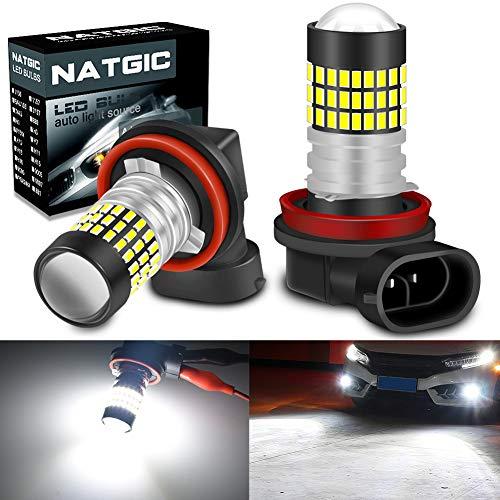 NATGIC H11 H8 H9 Ampoules LED Blanc Xenon 1800LM 3014SMD 78-EX avec projecteur à lentille pour projecteur de lumière antibrouillard, 6500K, 12-24V (Pack de 2)