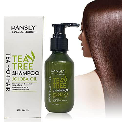 Thnkstaps Hair Shampoo Champú de Arbol de Té Champú AntiCaspa de Aceite de Arbol de Te Champú Humectante para Cuero Cabelludo Sensible Limpieza Profunda el cuero cabelludo seco 100 ML