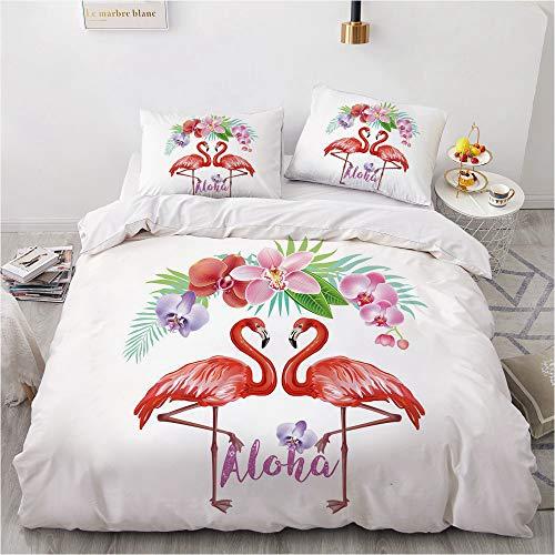 HHDL Flamingo - Funda nórdica con estampado de animales en 3D con funda de almohada, funda nórdica para cama infantil y juvenil, 100% poliéster (E,220 x 240 cm)