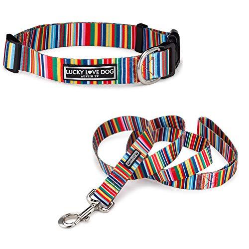 Lucky Love Dog Halsbänder für Mädchen oder Jungen, Hundehalsband und Leine, Set für große Hunde, Regenbogenstreifen, Hippie, groß