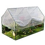 Invernaderos Pequeño Casa Verde Cobertizo de Plantas 47×23,6×23,6 Pulgadas, Protección UV Carpas de Flores, Exterior Plataforma Patio Yarda, Cubierta de PE y Marco de Acero