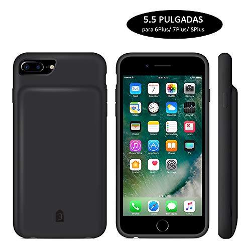 YFish Funda Batería Silicona para iPhone 6 7 8 Plus, 7000mAh Recargable Batería Externa Flexible Cómoda 2 en 1 Carcasa de Móvil Powerbank - 5.5 Pulgadas