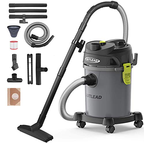 AUTLEAD Wet Dry Vacuum 5.5 HP 5.5 Gallon Pure Copper Motor Wet/Dry/Blow 3 in 1 Shop Vac, Stable Round Bucket Design with Pulley System and HEPA Filter
